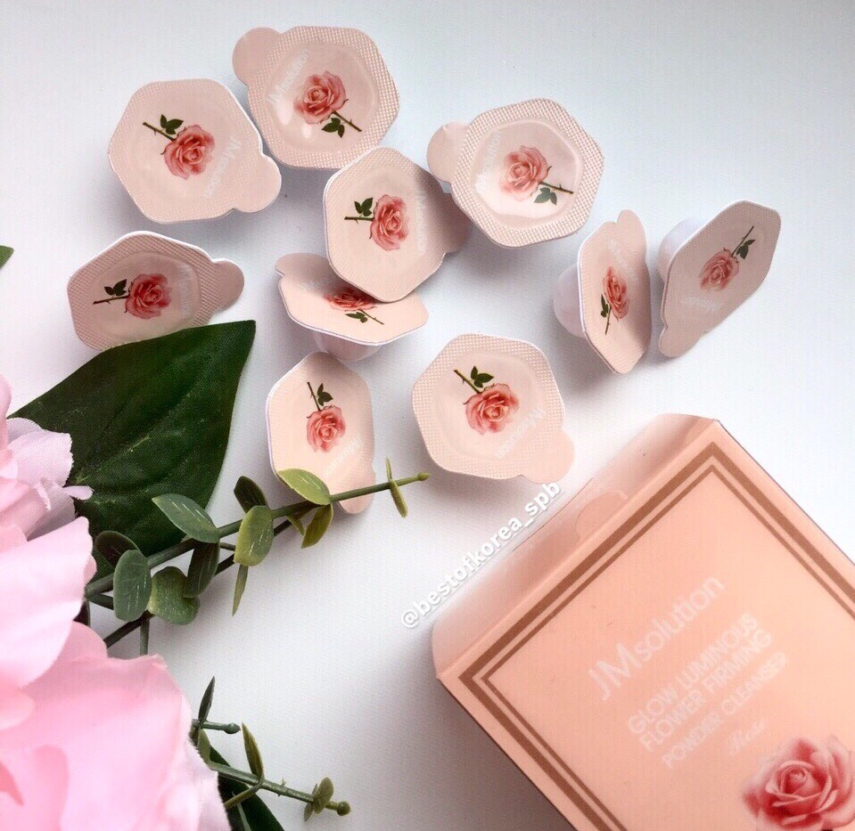 картинка JMsolution Энзимная пудра с розой Glow Luminous Flower Firming Powder Cleanswer Rose 0,35гр